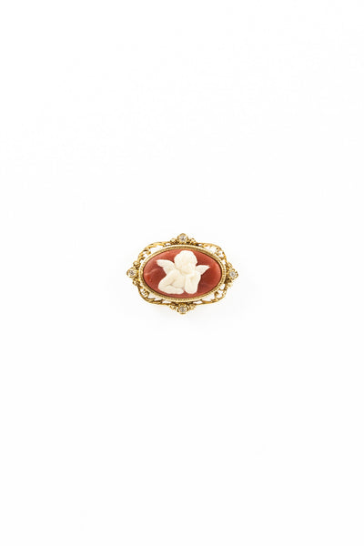70's__Vatican Library Collection__Rhinestone Cameo Pin