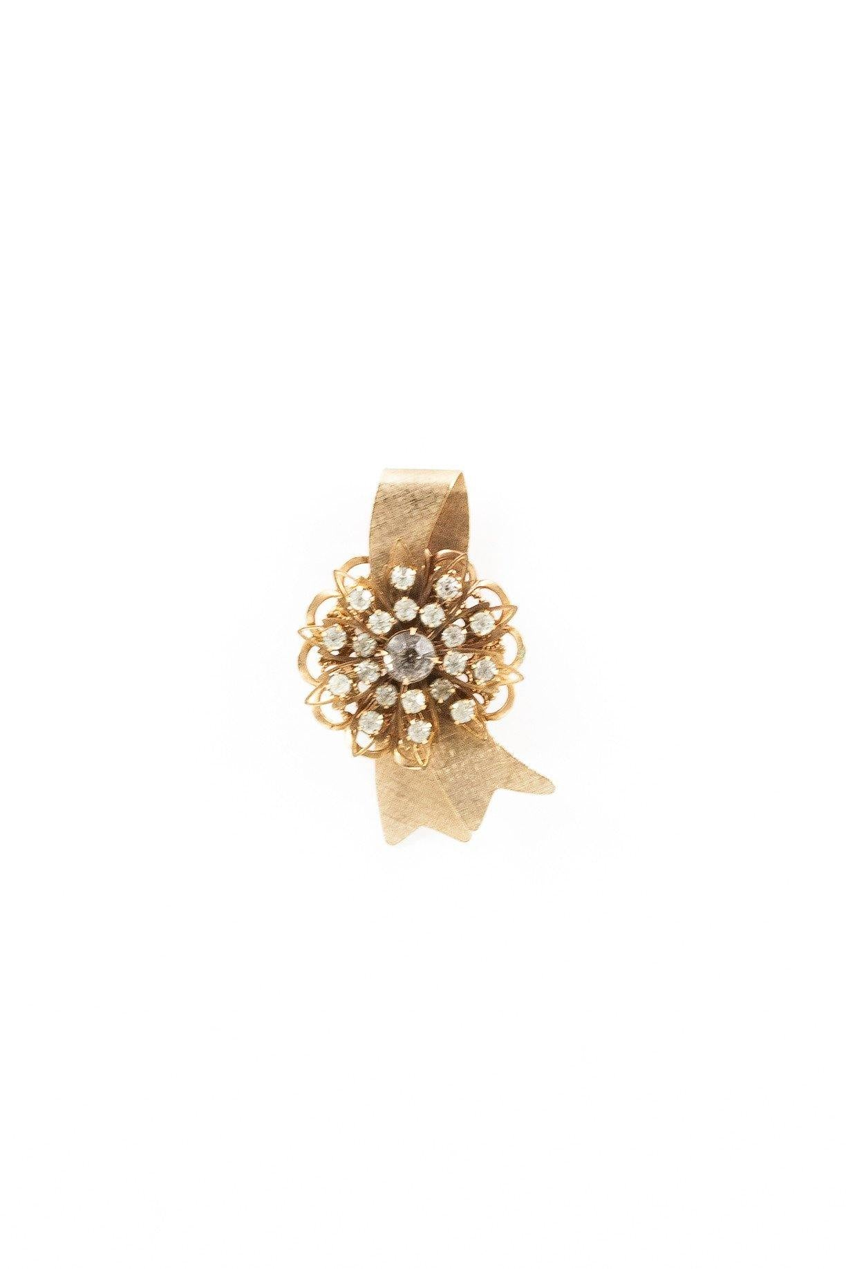 40's__Accessocraft__Rhinestone Flower Pin