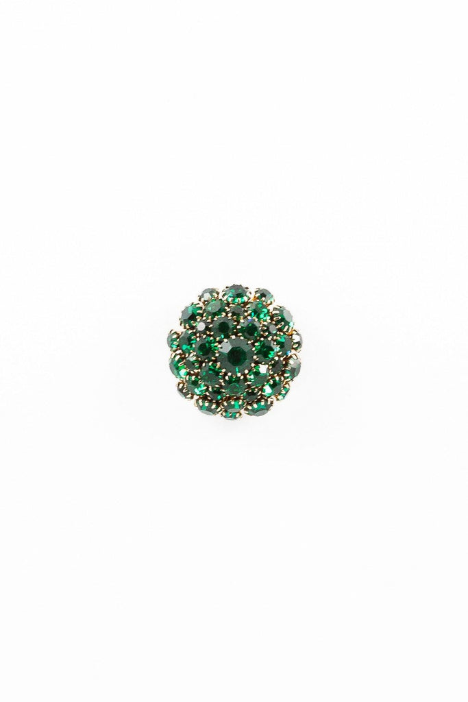 40's__Vintage__Emerald Rhinestone Cluster Pin