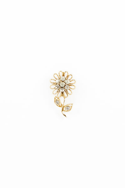 70's__vintage__Mini Rhinestone Sunflower Pin