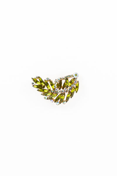 50's__Vintage__Deco Green Rhinestone Feather Pin
