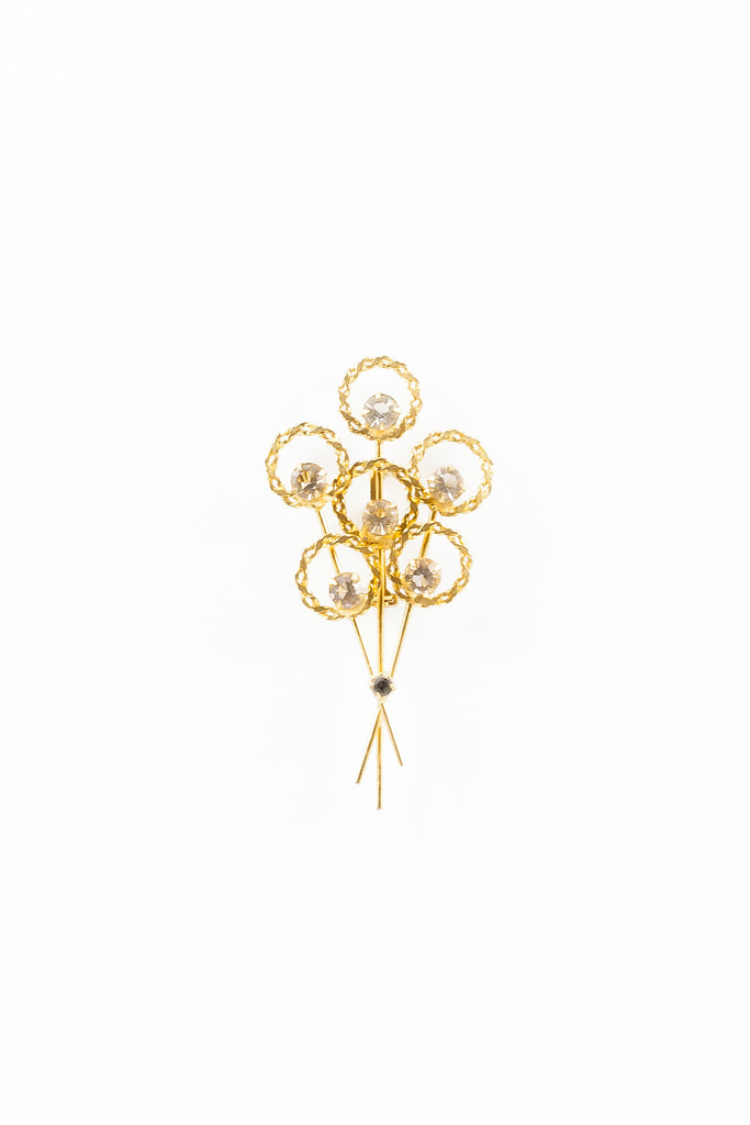 60's__Vintage__Delicate Rhinestone Bouquet Pin