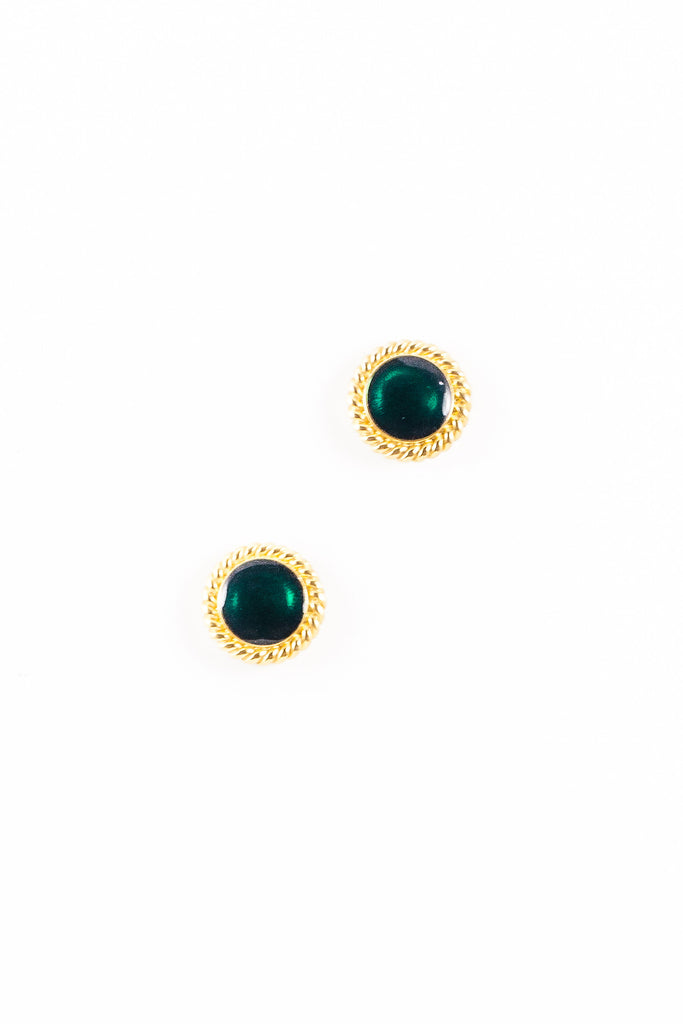 70's__Trifari__Emerald Rope Earrings