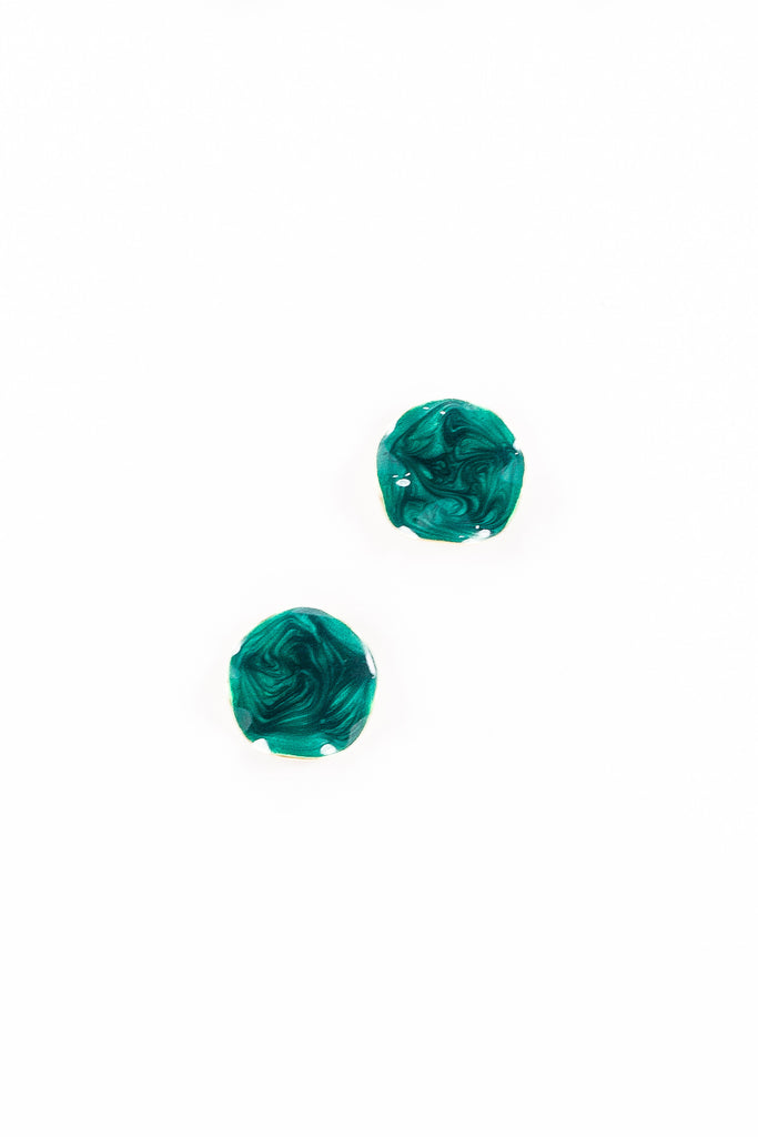 70's__Avon__Emerald Enamel Disc Earrings
