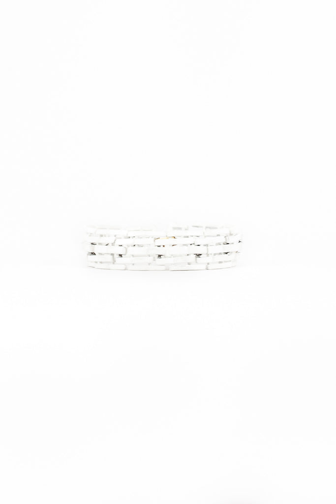 70's__Trifari__White Rectangles Bracelet