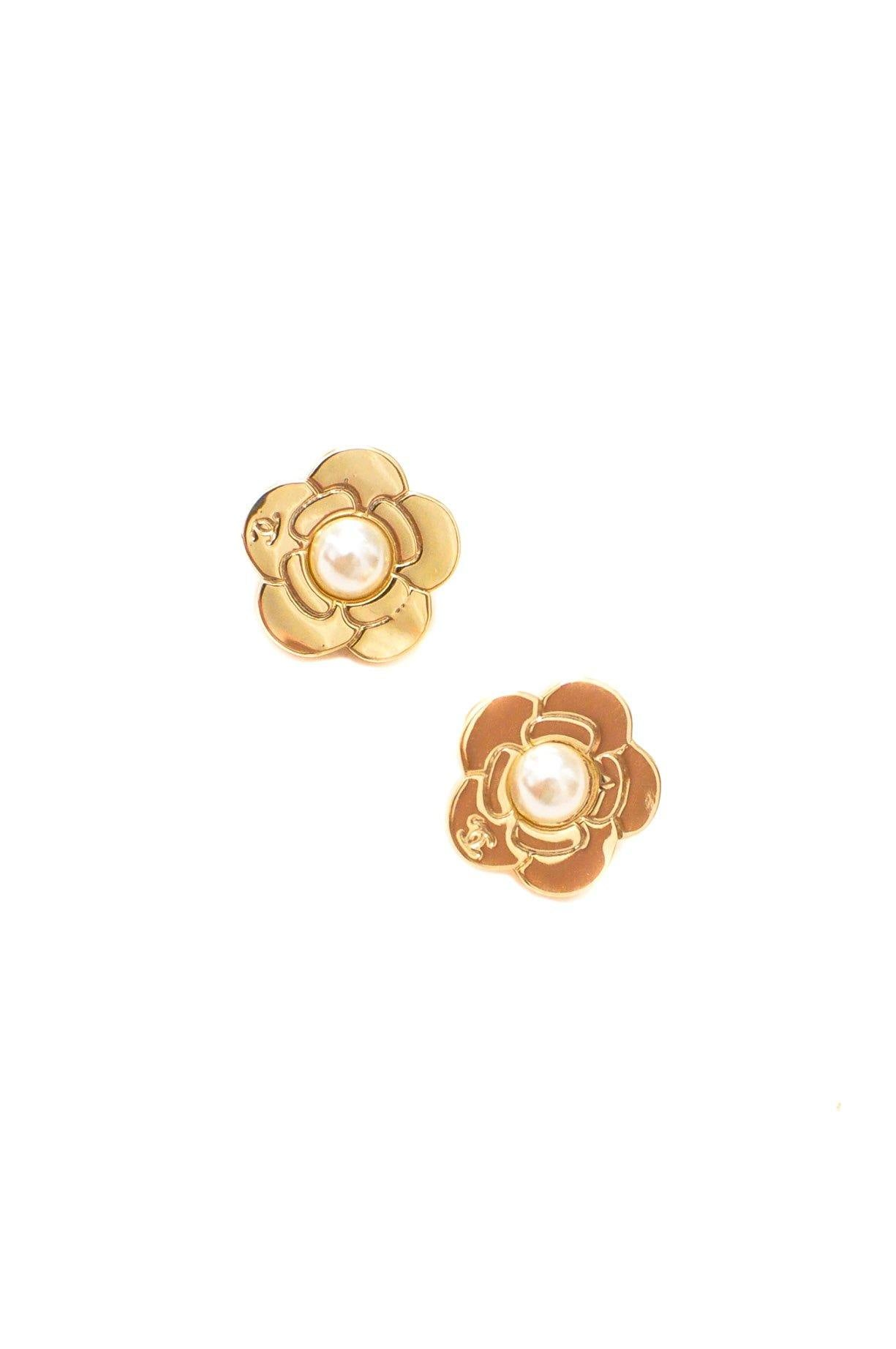 Chanel Camellia Floral Pierced Earrings
