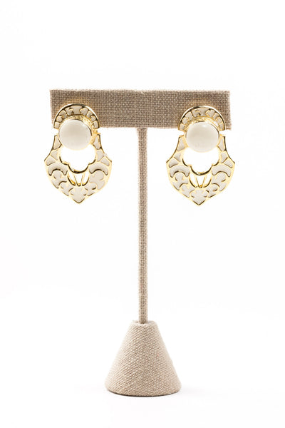 80's__Vintage__Cream Bauble Drop Earrings