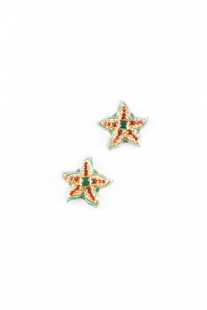 60's__Kenneth Jay Lane__Embellished Starfish Earrings