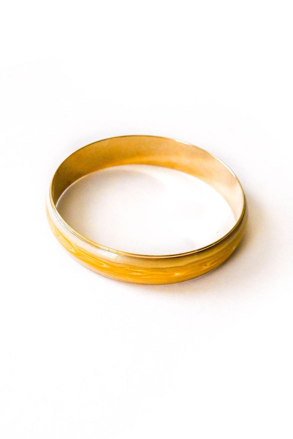 Yellow and Gold Resin Bangle Bracelet