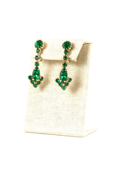 60's__Vintage__Emerald Rhinestone Drop Earrings