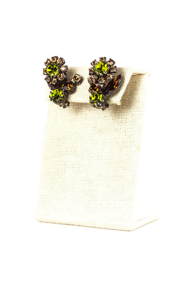 Vintage Colored Floral Rhinestone Clip On Earrings