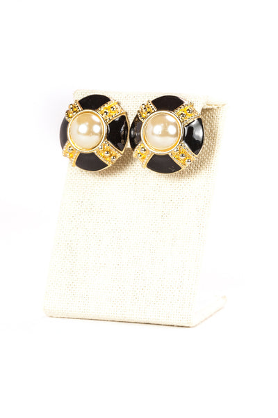 80's__Vintage__Pearl Black & Gold Button Clip On Earrings