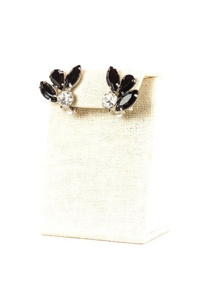 Vintage Black Rhinestone Leaf Clip On Earrings