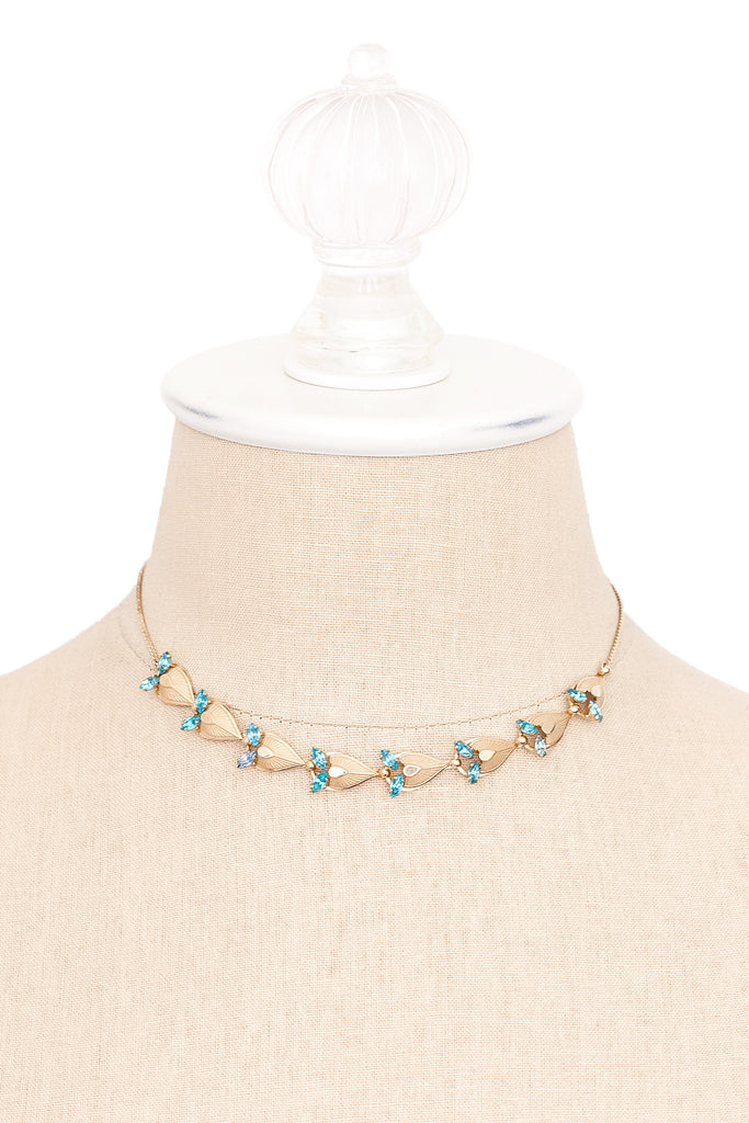 50's__Vintage__Teal Rhinestone Necklace