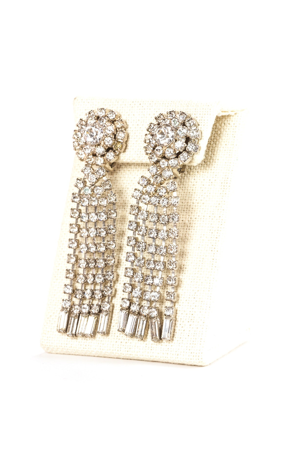 Vintage Medallion Fringe Rhinestone Clip On Earrings