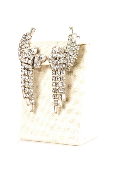 50's__Monet__Rhinestone Fringe Cuff Clip On Earrings