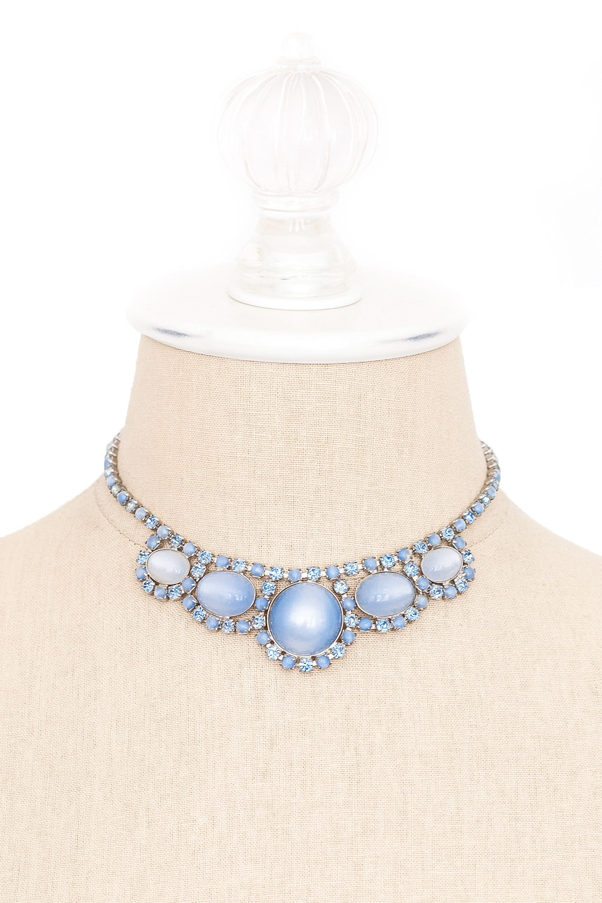 50's__Vintage__Blue Bauble Rhinestone Necklace