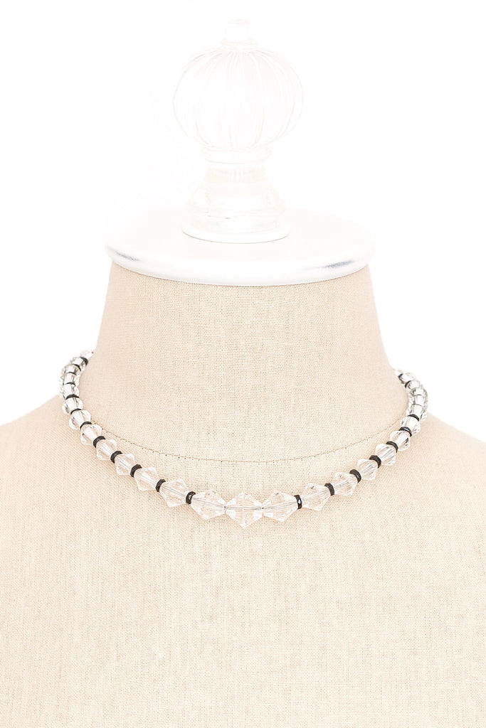 50's__Vintage__Black and Clear Crystal Necklace