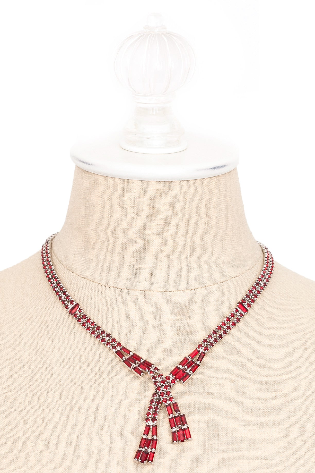 50's__Vintage__Red Rhinestone Drop Necklace
