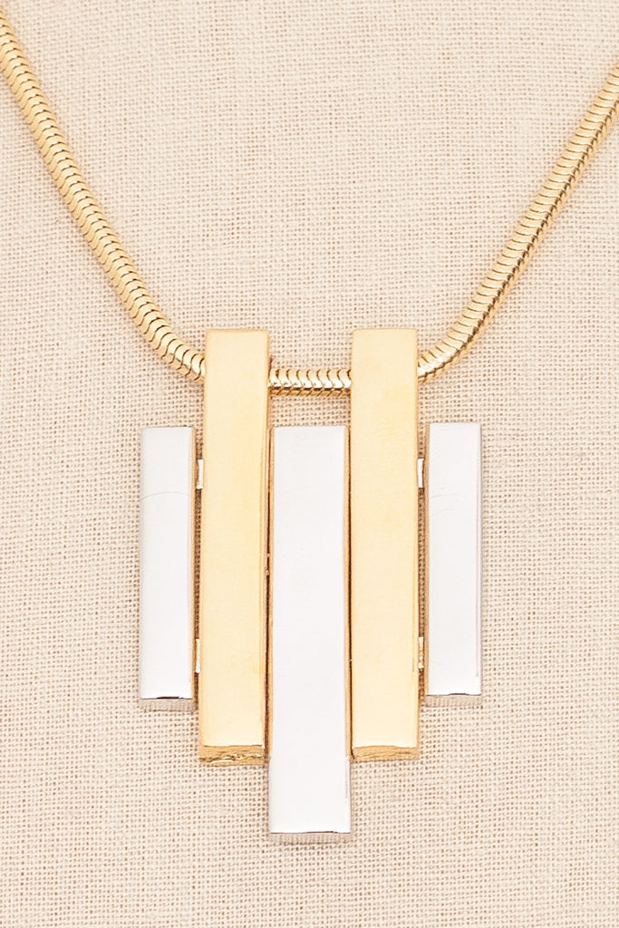 80's__Avon__Mixed Metals Pendant Necklace