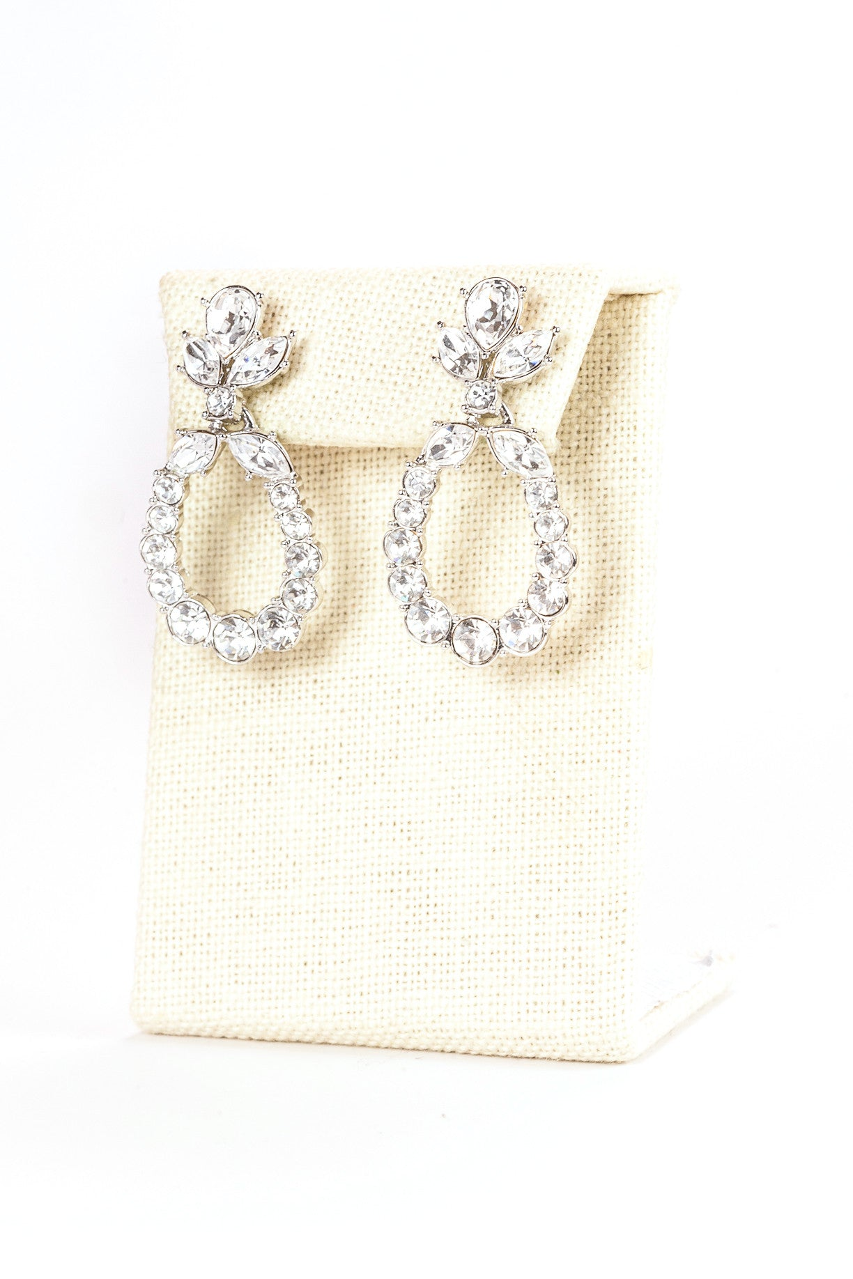 80's__Monet__Rhinestone Drop Hoop Earrings