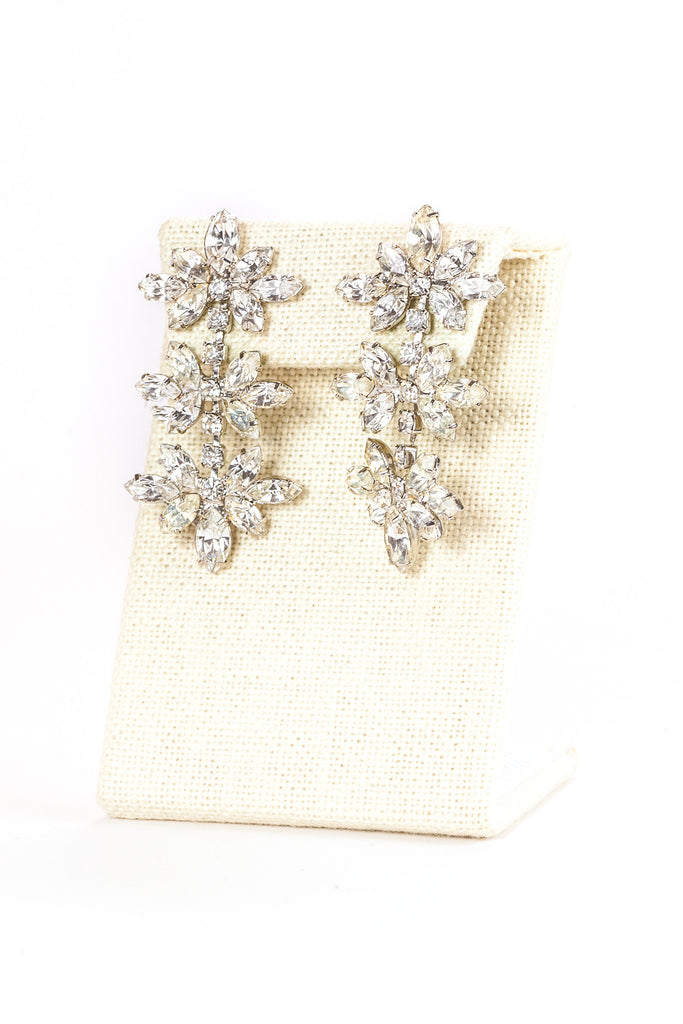 60's__Monet__Rhinestone Floral Drop Earrings