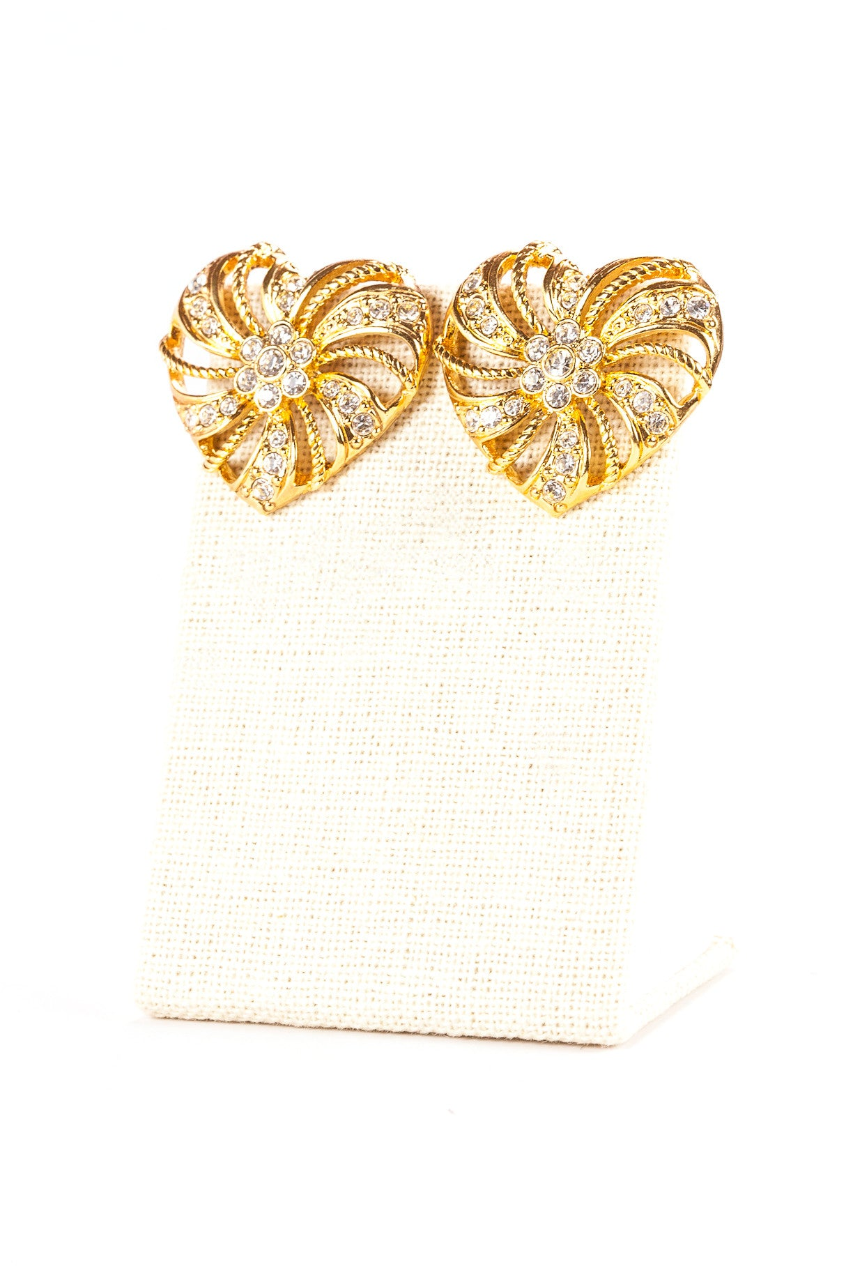 80's__Avon__Gold Heart & Rhinestone Earrings