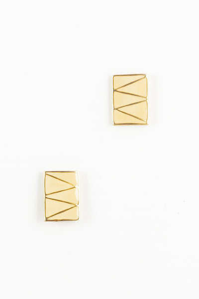 80's__Vintage__Zigzag Cream Rectangle Stud Earrings