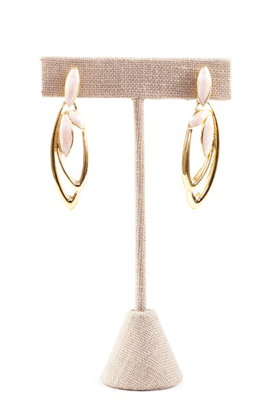 80's__Trifari__Pink Enamel Drop Earrings