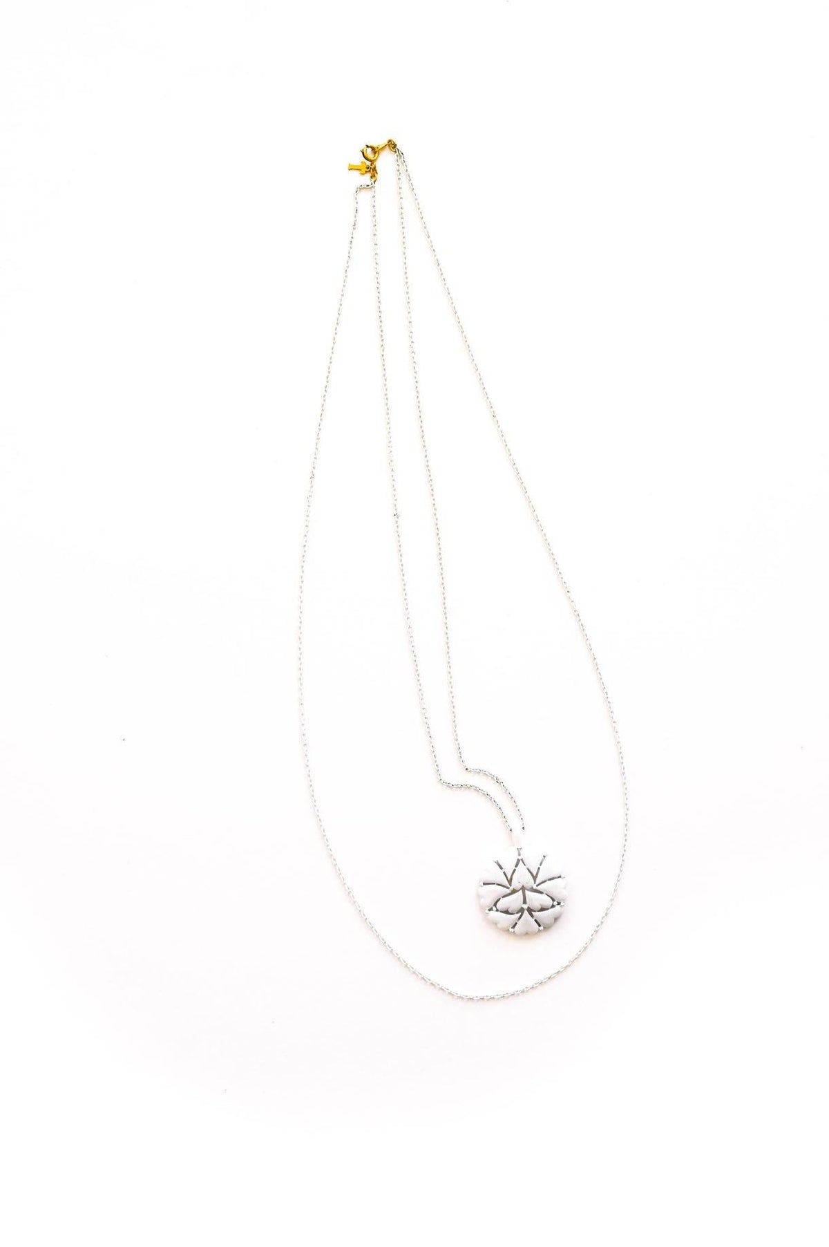 White Heart Pendant Necklace - Sweet & Spark
