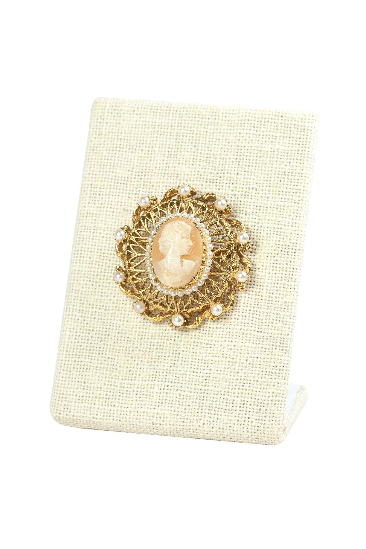 50's__Florenza__Cameo Pearl Brooch
