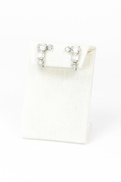 50's__Weiss__Mini Rhinestone Earrings