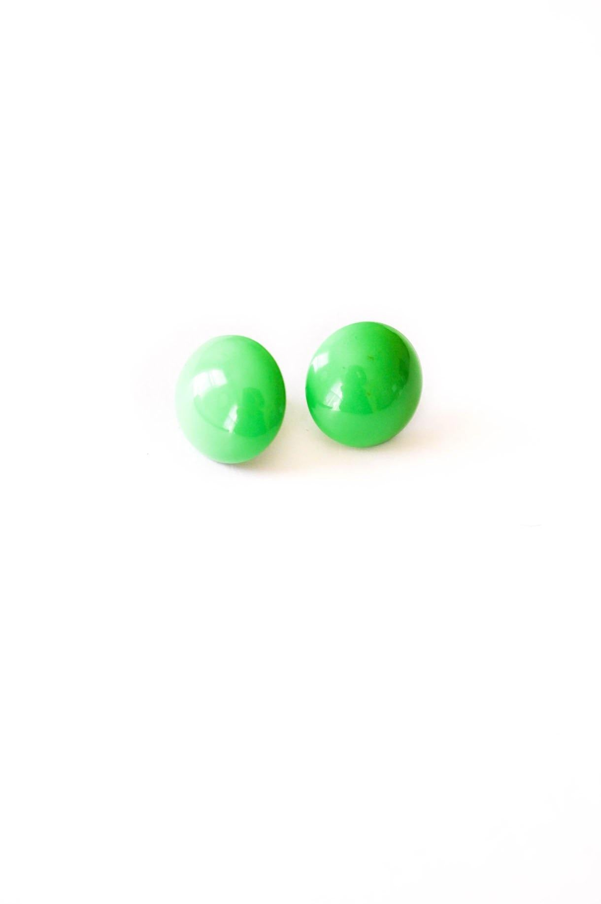 Green Dome Pierced Earrings