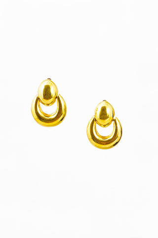70's__St. John__Bold Drop Hoop Clip-On Earrings