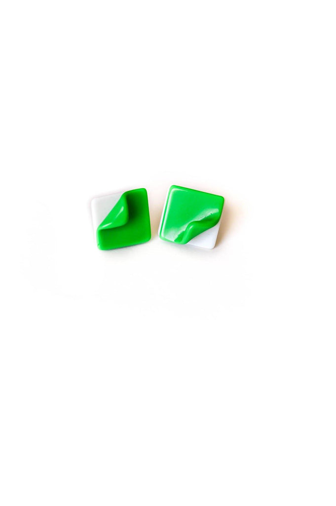 Green and White Folded Square Pierced Earrings