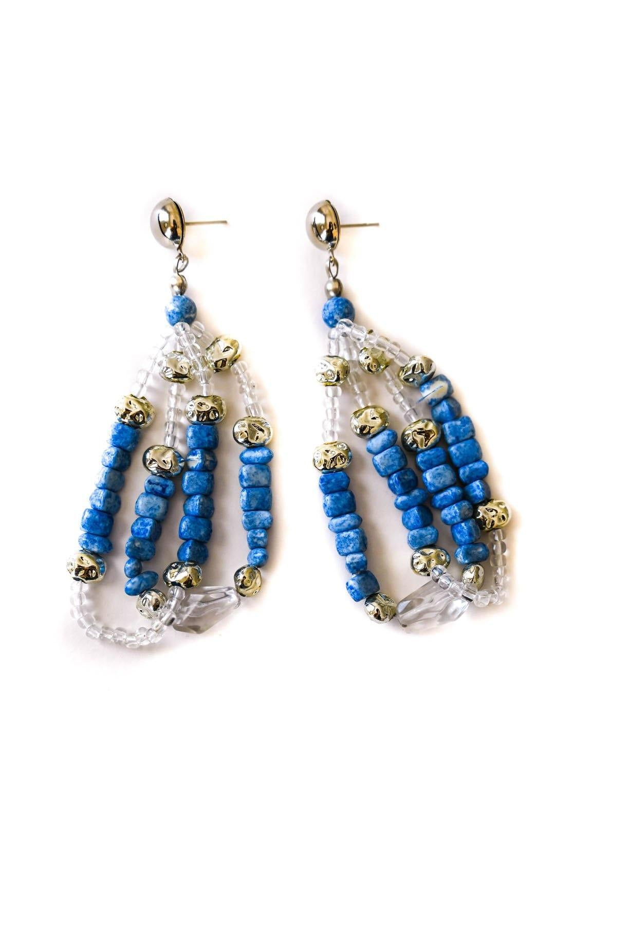 Blue Beaded Drop Earrings - Sweet & Spark