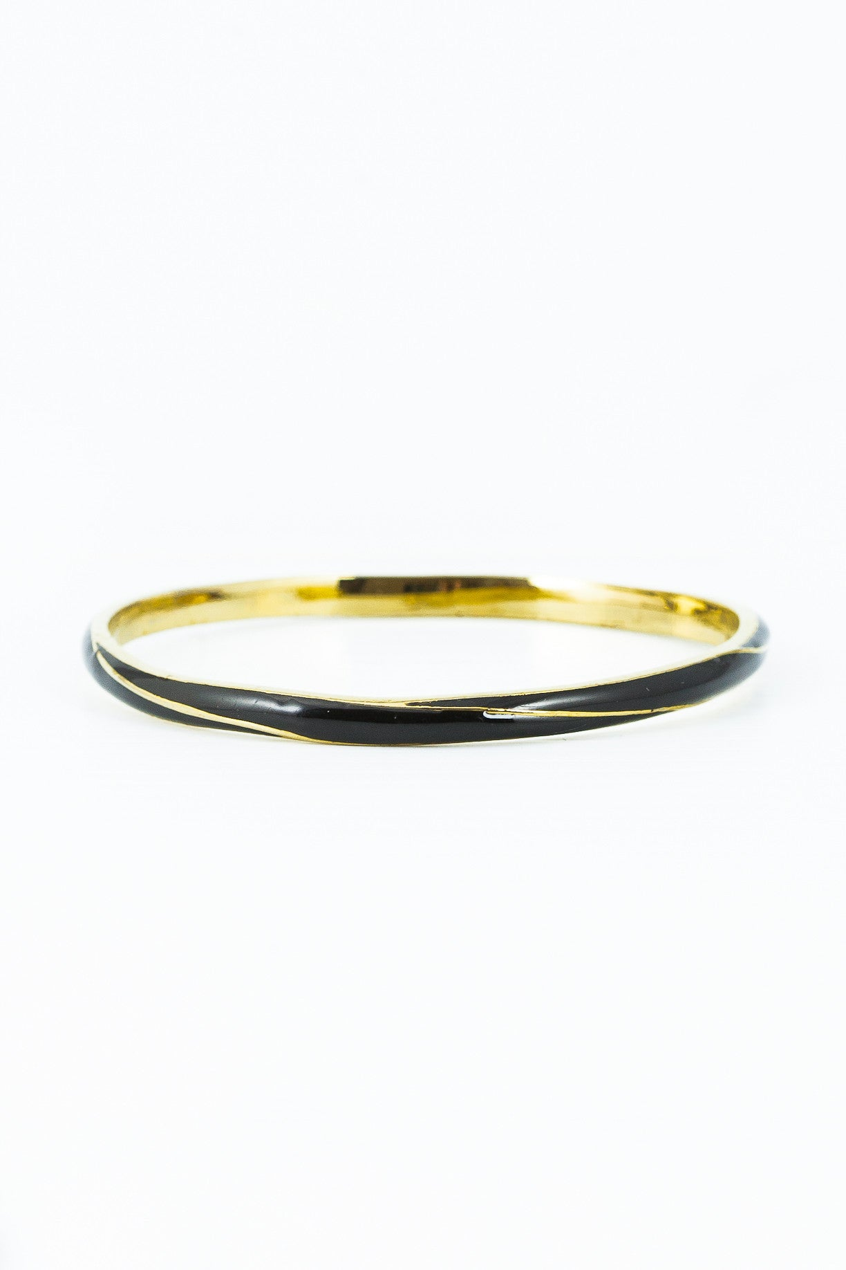 80's__Vintage__Twisted Black Enamel Skinny Bangle