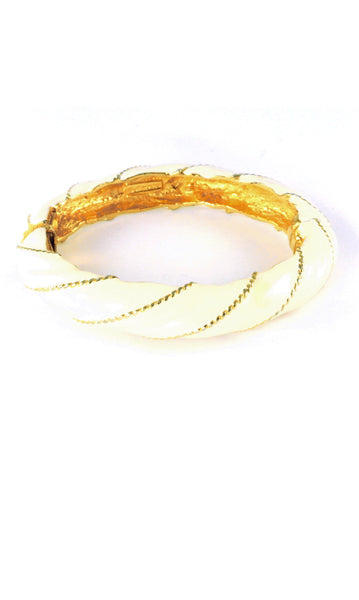 70's__Maresco__Gold Twisted Enamel Bracelet