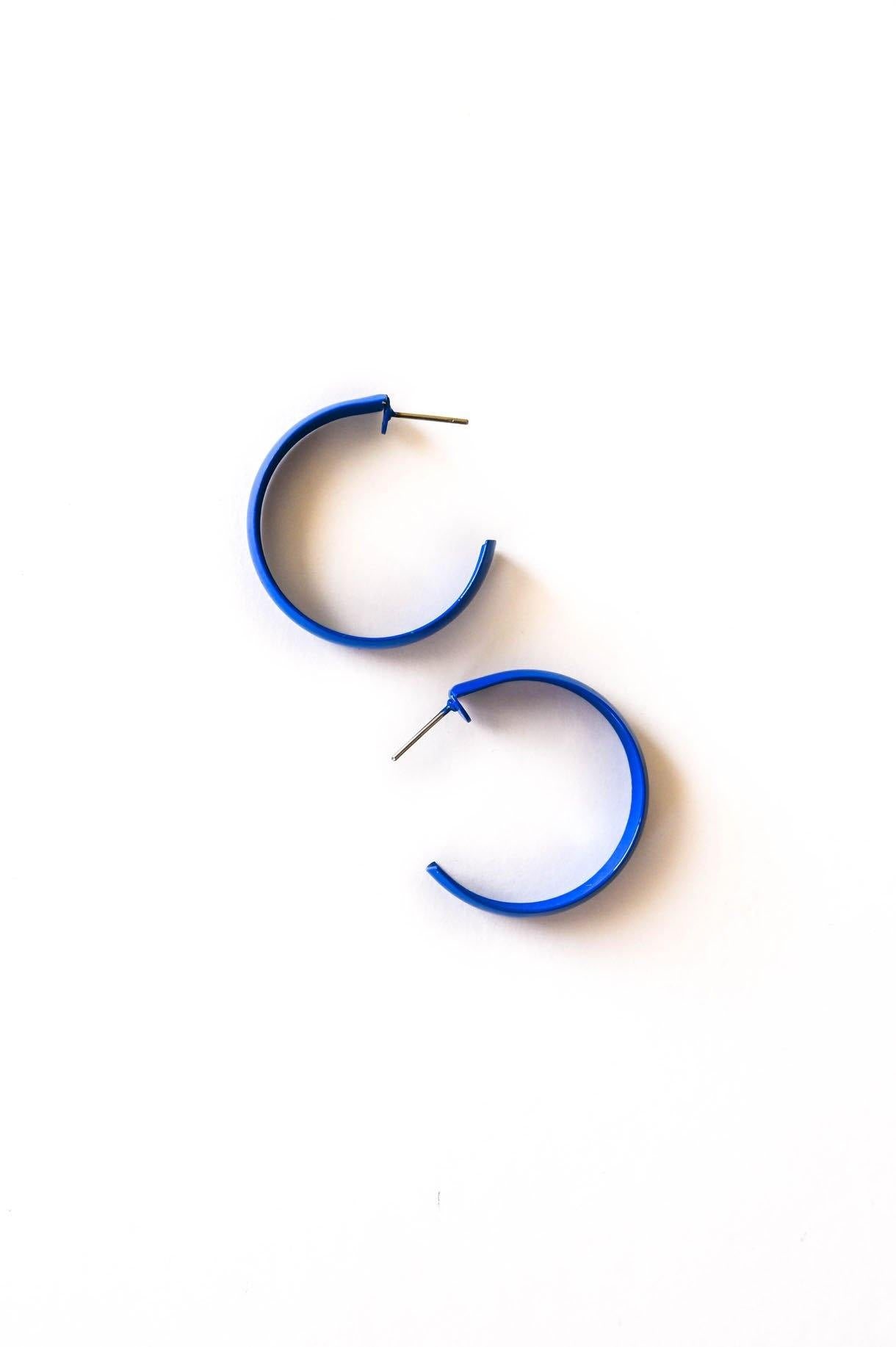 Blue Hoop Pierced Earrings