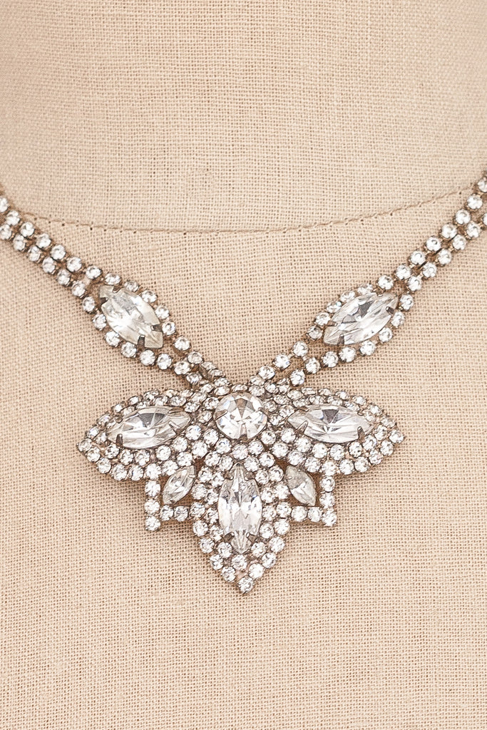 50's__Vintage__Rhinestone Statement Drop Necklace