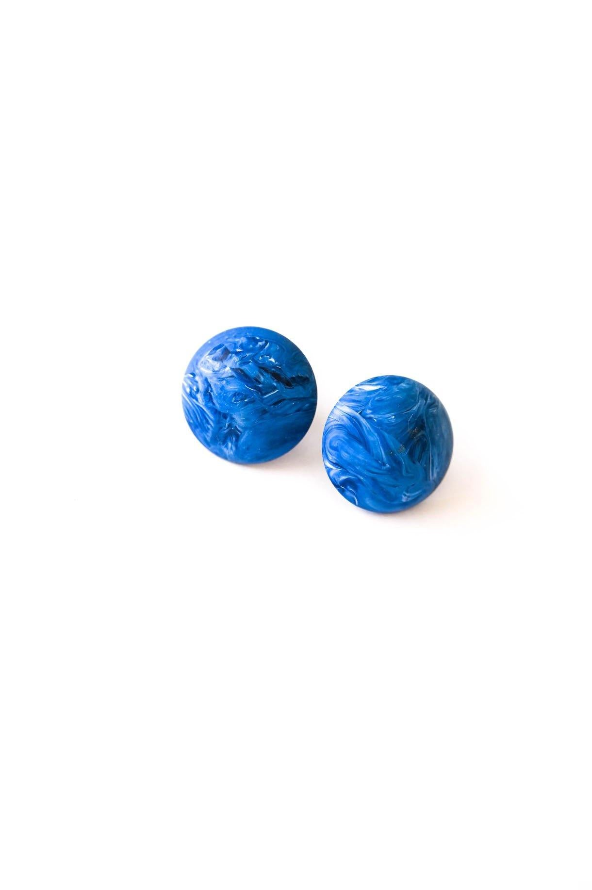 Blue Swirl Statement Pierced Earrings - Sweet & Spark