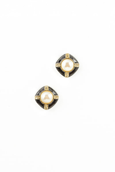 80's__Swarvoski__Black Diamond Pearl Earrings