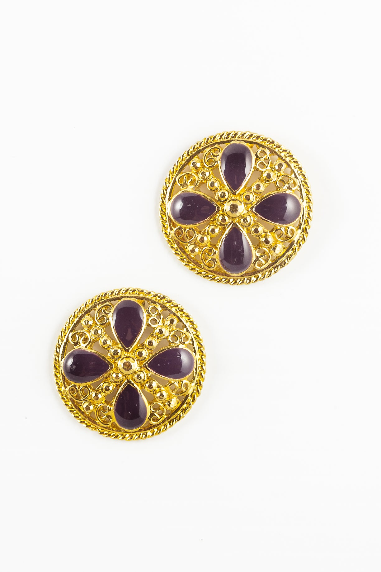 80's__Vintage__Purple Floral Circle Earrings