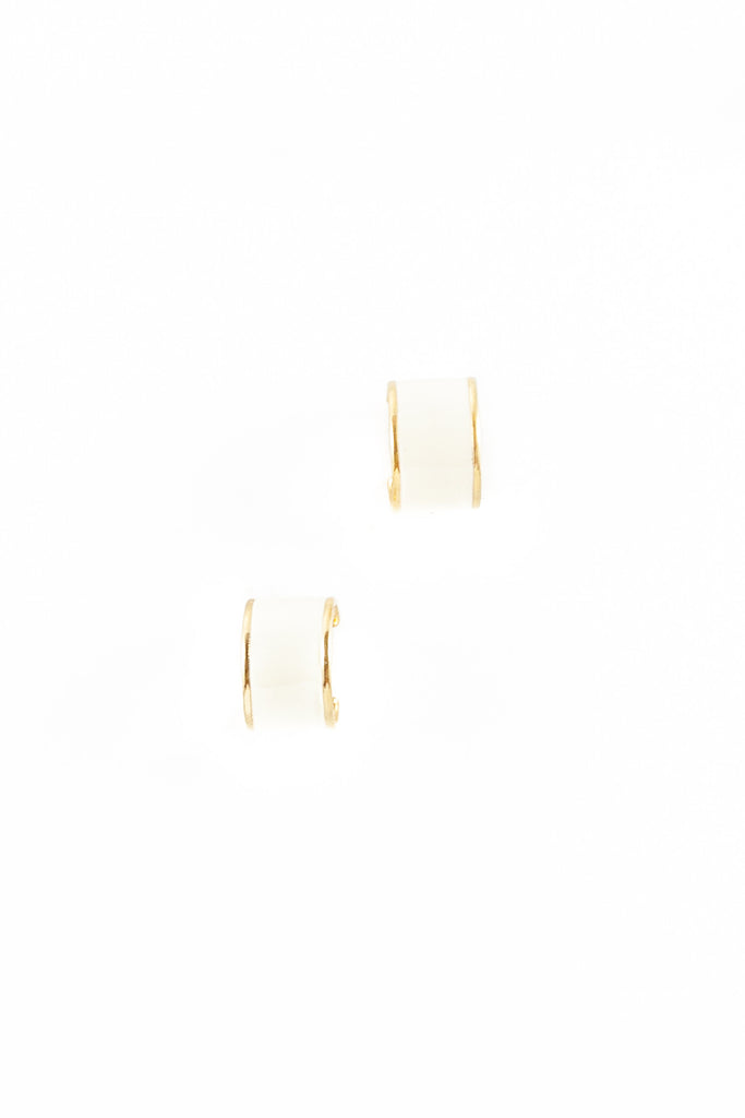 80's__Monet __Chunky Cream Hoop Earrings