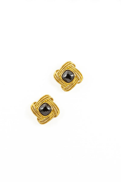 80's__Trifari__Black Diamond Statement Studs