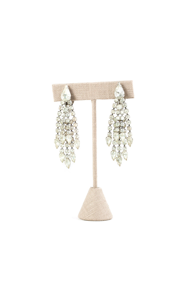 60's__Kramer__Rhinestone Fringe Clip-on Earrings