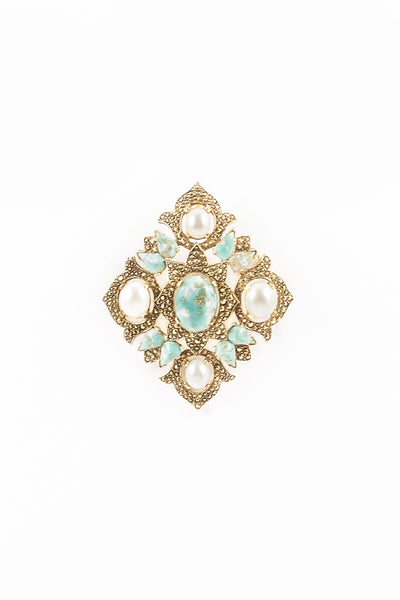 70's__Sarah Coventry__Mixed Pearl & Stone Pin