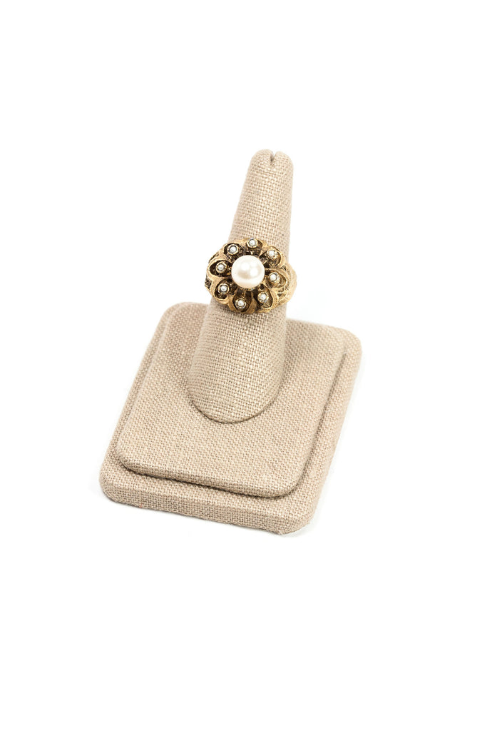 70's__Vintage__Adjustable Pearl Cocktail Ring