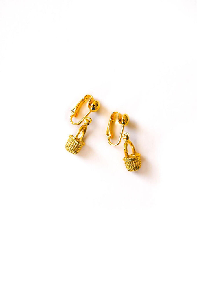 Gold Basket Clip on Earrings