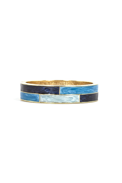 60's__Vintage__Blue Enamel Bangle Bracelet